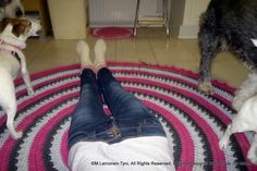 """crocheted rug, and my """"helpers"""" :D"""