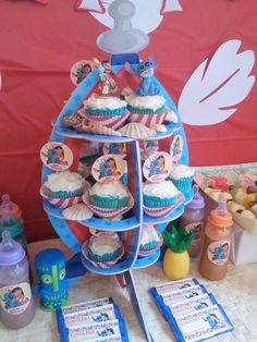 Themed cupcake stand at a Lilo and Stitch Birthday Party!  See more party ideas at CatchMyParty.com!