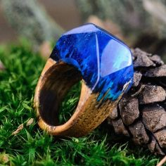 Wood Resin Ring Blue Winter Snow Blizzard Ring For Woman Wooden Statement Ring #Handmade #Statement