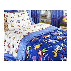 Under Construction Twin Size Cotton Bedding Set by Olive Kids : 100% soft cotton sheets are covered with dump trucks, cement trucks, rollers and more against a non-bleached white background. The flat sheet and the pillowcase have a coordinating blue with darker blue circles as the hem that is folded and sewn, then bordered with a fanci... **Read more Details : http://gethotprice.com/appin/?t=B00091UX5C