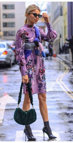 purple dress and stiletto boots + edgy street style ,