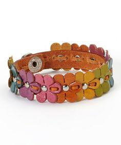 Look at this #zulilyfind! Orange & Color Mix Flower Leather Bracelet by PANNEE JEWELRY #zulilyfinds