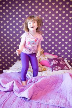Kids Room, Girls Room, and Nursery Wall Stencils for Fun Painted Walls - Polka Heart Stencil from Royal Design Studio - purple and gold room via Baby Rabies