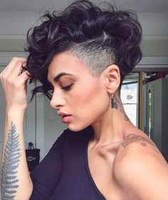 The best collection of Great Curly Pixie Hair, Pixie cuts, Latest and short curly pixie haircuts, Curly pixie cuts pixie hair Curly Pixie Haircuts, Curly Pixie Cuts, Short Hair Undercut, Bob Hairstyles, Curly Short, Undercut Women, Pixie Mohawk, Side Undercut, Edgy Pixie