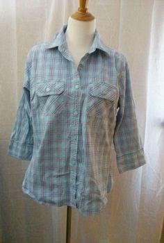 Women's Carhartt Button Front Plaid Shirt Plus Size 2XL XXL 3/4 Sleeve #Carhartt #ButtonDownShirt