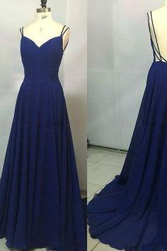 2017 Custom Made Royal Blue Spaghetti Straps Sleeveless Backless Sweetheart Prom Dresses uk PM770