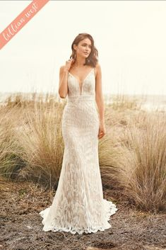 The Blushing Bride Boutique is one of the largest Retailers in Texas for Lillian West Wedding Gowns! You'll find in our Lillian West Collection an assortment of Ultra Boho Styles, Romantic … Wedding Dresses Brisbane, Dream Wedding Dresses, Boho Chic Wedding Dress, Lace Wedding, Allure Bridal, Lillian West Wedding Gowns, Country Bride And Gent, Plunging Neckline Style, Fit And Flair
