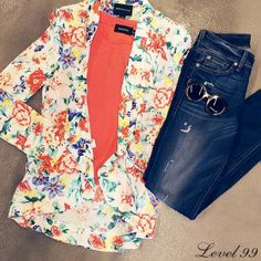 The weekend is here! Celebrate with a bright colorful blazer and some #Level99Jeans, thanks to Feral!
