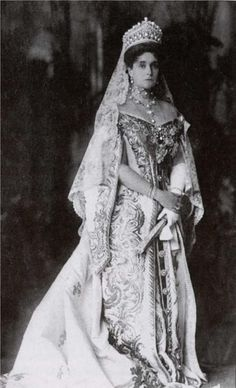 Photograph of Empress Alexandra Feodorovna in her Ceremonial Court dress. Description from pinterest.com. I searched for this on bing.com/images