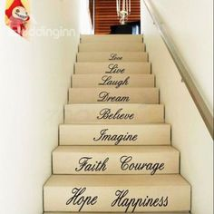 Inspiring Letters and Words Love Hope Wall Staircase Removable Wall Sticker on sale, Buy Retail Price Wall Stickers at Beddinginn.com