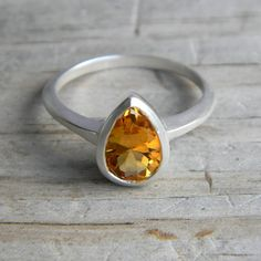 Citrine Gemstone Pear Ring in Sterling Silver