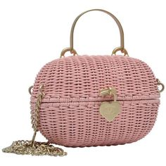 Chanel Pink Straw Handbag Mint Vintage ($4,650) ❤ liked on Polyvore featuring bags, handbags, torbe, vintage handbags, vintage handbags purses, chanel handbags, vintage purse and vintage straw purses