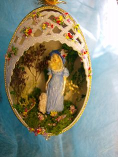Victorian Girl with Dog Goose Egg Spring Ornament