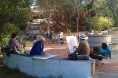 Pintores de primavera pintando el Pouet de l'Ermita de Vila-real.