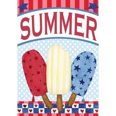 """Red White and Blue Pops Summer Garden Flag Patriotic Popsicles 12.5"""" x... (€4,35) ❤ liked on Polyvore featuring home, outdoors, outdoor decor, garden flags, outdoor garden decor, garden patio decor, garden decor and patio decor"""