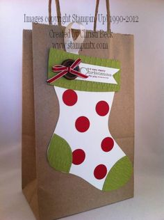 Christmas Stocking Gift Bag by beckcjb - Cards and Paper Crafts at Splitcoaststampers Christmas Gift Bags, Christmas Gift Wrapping, Christmas Paper, Christmas Stockings, Christmas Ideas, Paper Gift Bags, Paper Gifts, Decorated Gift Bags, Diy Papier