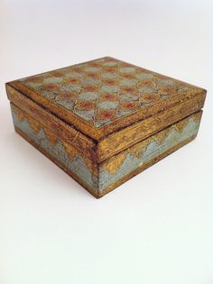 Beautiful Vintage Powder Blue Gold Florentine Box   by Comforte, $18.00