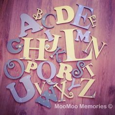 Alphabet - Boys set Wooden Alphabet letter Set - perfect for any nursery. All our wooden alphabets are hand painted to your specifications & we can colour match. Order here: www.moomoo-memories.co.uk