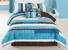 CS7835ABQN-1300 - Choppy Blue Queen Comforter Set $99.99