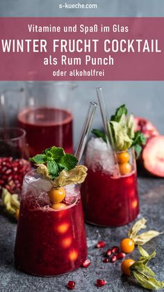 Winter fruit cocktail with and without rum – with freshly squeezed juice from Sage Appliances Bluicer – frozen winter punch, healthy vitamin fun Best Picture For … Rum, Vanilla Milkshake, Winter Cocktails, Exotic Food, World Recipes, Quick Recipes, Original Recipe, Clean Eating Snacks, Cocktail Recipes