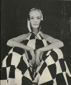 1959 Jump Suit Black and White Check - Halter Neck Top with Hood