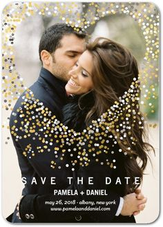 Glimmering Hearts - Signature White Photo Save the Date Cards in Dijon or Ocean | Jenny Romanski