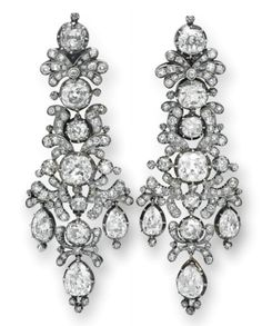 Pair Of Antique Old Mine-Cut Diamond Ear Pendants, Mounted In Silver And Gold   c.1806  -  Christie's