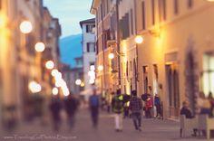 Evening dusk street photography wanderlust Italy travel photo large wall art home decor Spoleto Umbria office decor brown gold village