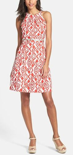 Pretty print dress in #coral http://rstyle.me/n/juna5nyg6