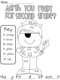 Pirate printable for pirate day and lots of beginning year ideas