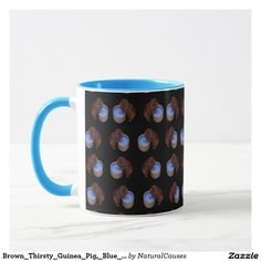 Brown Thirsty #guineapig, Pattern Blue Combo Coffee Mug