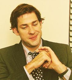 Whenever he looks at the camera and does the Jim face, I die of adorableness. (GIF)