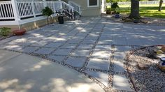 Lovely paver and gravel patio .
