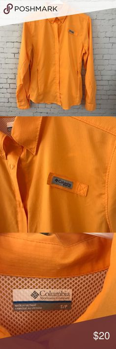 Columbia PFG Button Down Size small orange Columbia PFG Button Down shirt in great condition. Columbia Tops Button Down Shirts