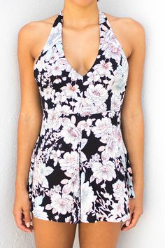 Abigail Black and Ivory Floral Romper