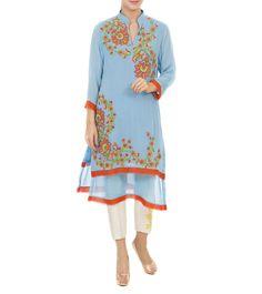 Blue Georgette Embroidered Tunic #satin #ethnicwear #fusionwear #tunics