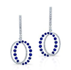 HIGH QUALITY NATURAL COLOR 18K WHITE GOLD CONTEMPORARY ROUND SAPPHIRE DROP DIAMOND EARRINGS EMBEDDED WITH ROUND WHITE DIAMONDS, FEATURES 2.12 CARAT TOTAL WEIGHT