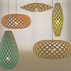 Gorgeous, gorgeous, gorgeous. David Trubridge nature inspired lighting. These guys are made of sustainable bamboo. Love!