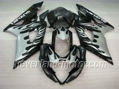 SUZUKI GSX-R 1000 2005-2006 K5 ABS Verkleidung - Flamme(Silber) #GSXR1000verkleidung #suzukiGSXR1000verkleidung