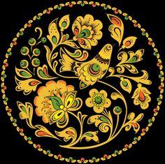 Круглый растительный орнамент с птицей.