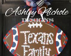 Texans Inspired Football Door Hanger, Door Decoration,  Fall Wreath, Wooden Football