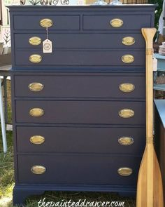 """The Painted Drawer Collection refinished this stylish vintage dresser using General Finishes Coastal Blue Milk Paint. """"_ this color!"""""""