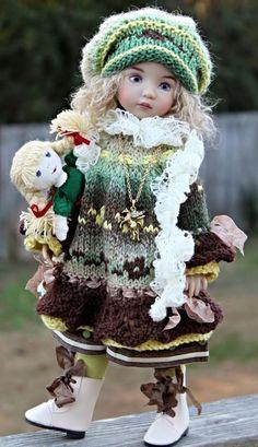 Heirloom Knit Dress Set + Boots + Dolly Little Darlings Effner 13  by Barbara