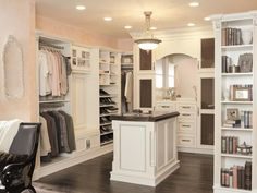 Crown Molding - How to Make Your Walk-In Closet Resemble a Chic Boutique.  This post have lots of different closet storage options.