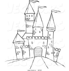 Printable Black and White Art   Vector of a Cartoon Path Leading to a Castle - Coloring Page Outline ...