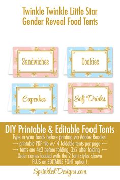 Twinkle Little Star Gender Reveal Party Decorations - Blush Pink Baby Blue Gold Glitter Printable Food Tents, Editable Text Place Cards