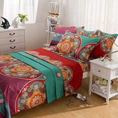 Boho BED SHEET SET , Microfiber Bedding Bed Sheets , 4 Piece Sheets red green golden prints Queen (Queen, 001) * Want to know more, click on the image.
