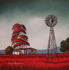 Original Painting by Nicky van in the Acrylics category was sold for on 17 Oct at by Nicky van Rensburg in Pretoria / Tshwane Windmill Art, African Colors, Building Painting, South African Artists, Painted Stairs, Landscape Paintings, Landscapes, Painting Lessons, Acrylic Art
