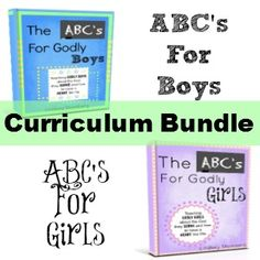 The ABC's for Godly Children Bible Curriculum: Teaching Godly Children about the God they Serve   For ages 4-10. A Comprehensive Curriculum perfect for a stand alone homeschool Bible curriculum or to be used as a supplement. If you do not homeschool it also just makes a great devotional with the kids.  Learn about Christian virtues, Biblical manhood and womanhood, as well as Gospel centered doctrine and theology all through full lesson plans, scripture memorization, crafts, and song!