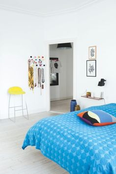 Blue Mega Dot bed cover from Hay. From Boligmagasinet.dk, photo Pernille Kaalund